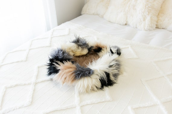 Sheepskin Cat Bed Or Dog Bed Cat Cave Unique Pet Bed Cat House Pet Furniture Hand Made With Genuine Real Sheepskin XXL Extra Large #Bed30