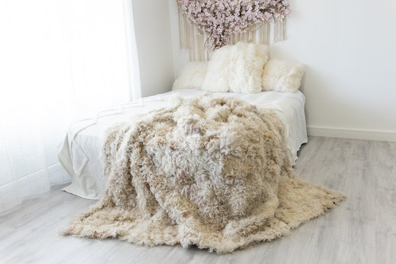 Curly Luxurious Patchwork Toscana Sheepskin Real Fur Throw | Real Fur Blanket | Sheepskin throw | Sheepskin Blanket Boho Throw Ivory #FuFu81