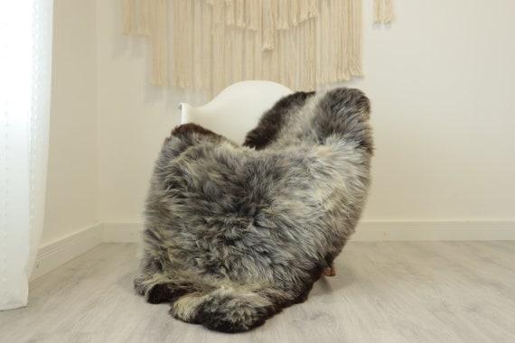 Real Sheepskin Rug Shaggy Rug Chair Cover Scandinavian Home Sheepskin Throw Sheep Skin Brown Gray Sheepskin Home Decor Rugs #herdwik351