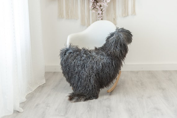 Real Sheepskin Rug Genuine Rare Gotland Sheepskin Rus - Curly Fur Rug Scandinavian Sheep skin - Curly Rug Gray Brown Sheepskin #G14