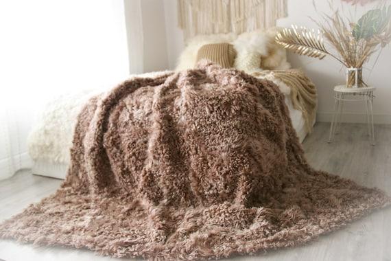 Luxurious Patchwork Toscana Sheepskin Real Fur Throw   Real Fur Blanket   Sheepskin throw   Boho Throw  2FU4