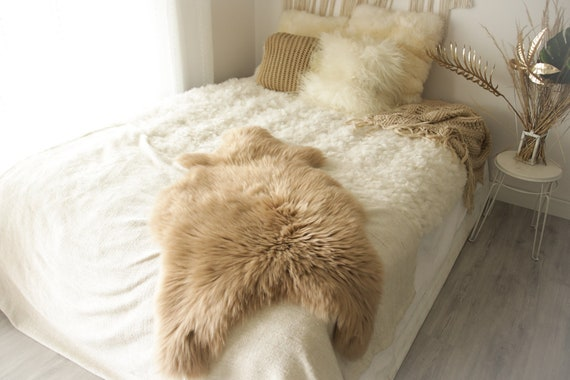 Real Sheepskin Rug Shaggy Rug Chair Cover Sheepskin Throw Sheep Skin Champagne Sheepskin Home Decor Rugs #0Margot11