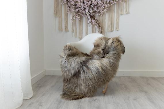 Real Sheepskin Rug Shaggy Rug Chair Cover Scandinavian Home Sheepskin Throw Sheep Skin Gray Brown Sheepskin Home Decor Rugs #herdwik209