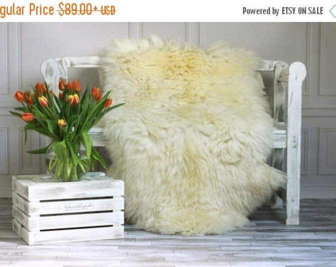 Creamy White Giant XXXL Sheepskin Rug, Sheepskin Throw, Cosy <3