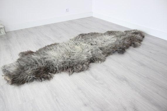 Double XXL Sheepskin Rug | Long rug | Shaggy Rug | Chair Cover | Runner Rug | Carpet | Gray Sheepskin | Sheepskin Rug | BRSEW2