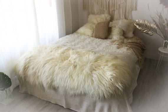 Double Icelandic Sheepskin Rug Long rug Large Sheepskin Throw Chair Cover Sheepskin Carpet Ivory Sheepskin Sheep Skin Rug | 2double12