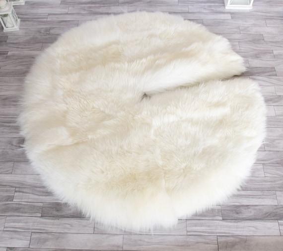 Real Fur Sheepskin Tree Skirt | Christmas Tree Skirt | Creamy White Tree Skirt | Tree Skirt | Christmas Decor