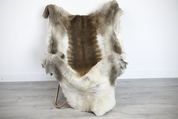 Reindeer Hide | Reindeer Rug | Reindeer Skin | Throw XXL EXTRA LARGE - Scandinavian Style Christmas Decor Brown White Hide #Ire35