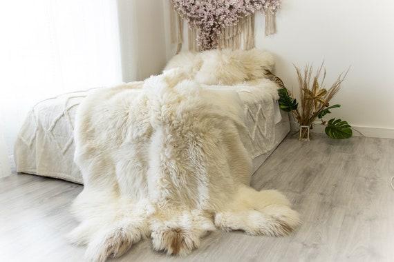 Exclusive Genuine Natural Rare Merino Sheepskin Rug, Pelt, Soft Long Fur XXL Extra  Large Super Soft Fur - Sexto Ivory #2pol17