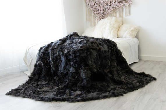 Luxurious Patchwork Toscana Sheepskin Real Fur Throw | Real Fur Blanket | Sheepskin throw | Sheepskin Blanket Boho Throw Gray Black #FuFu83