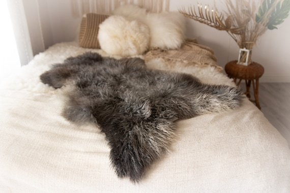 Real Sheepskin Rug Genuine Rare Gotland Sheepskin Rus - Curly Fur Rug Scandinavian Sheep skin - Gray Sheepskin #KWAGOT1