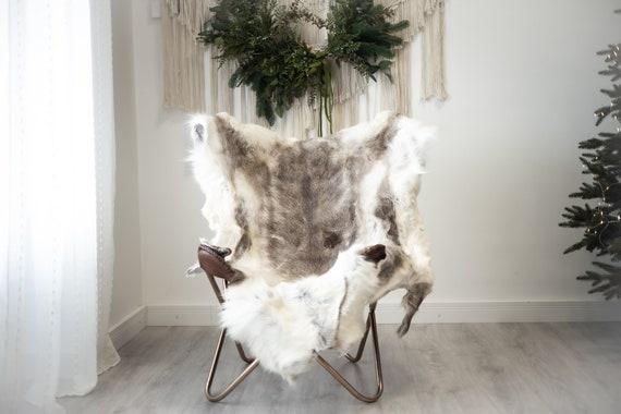 Reindeer Hide   Reindeer Rug   Reindeer Skin   Throw XXL EXTRA LARGE - Scandinavian Style Christmas Decor Brown White Hide #Reindeer98