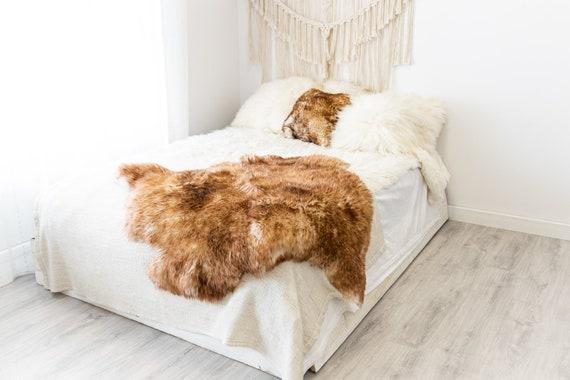 Double Mouflon White Brown Sheepskin Rug | Long rug | Shaggy Rug | Chair Cover | Area Rug | Brown Rug | Carpet | Brown Tips Sheepskin