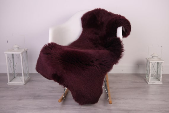 Real Sheepskin Rug Shaggy Rug Chair Cover Sheepskin Throw Sheep Skin Purple Sheepskin Home Decor Rugs #HERDZ27