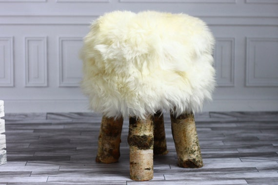 Luxury Beautiful Real SHAGGY White SHEEPSKIN STOOL, Chair, Pouf, Scandinavian Design