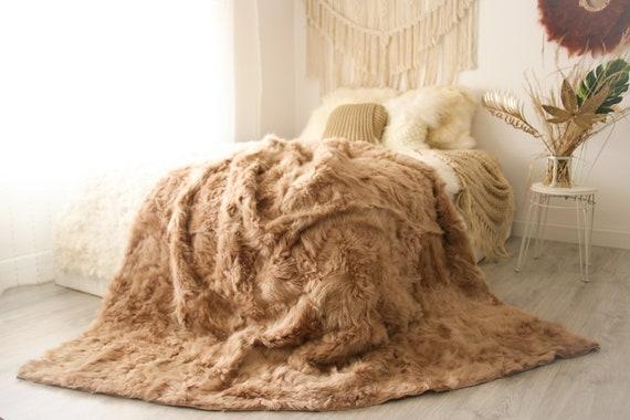 Luxurious Patchwork Toscana Sheepskin Real Fur Throw   Real Fur Blanket   Sheepskin throw   Boho Throw  2FU10