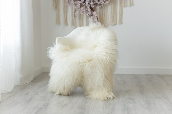 Real Sheepskin Rug Genuine Rare Mongolian Sheepskin Rug - Curly Fur Rug Scandinavian Sheep skin - Creamy White Sheepskin #G3