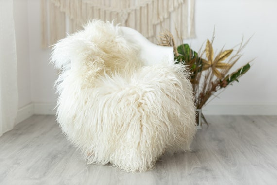 Real Sheepskin Rug Genuine Rare Mongolian Sheepskin Rus - Curly Fur Rug Scandinavian Sheep skin - Ivory Beige Curly Sheepskin #Krecisl4