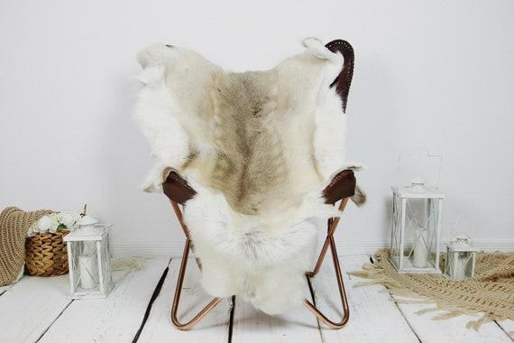 Reindeer Hide | Reindeer Rug | Reindeer Skin | Throw XXL EXTRA LARGE - Scandinavian Style Christmas Decor Brown White Hide #Kre24