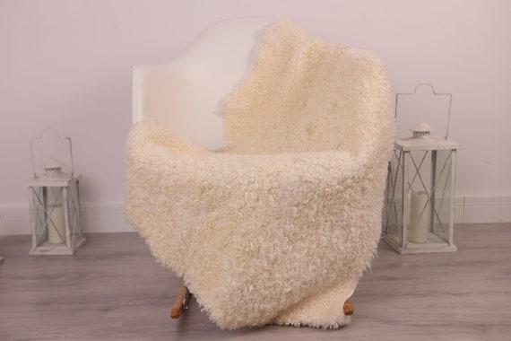 Real Sheepskin Rug Genuine Rare Gotland Sheepskin Rus - Curly Fur Rug Scandinavian Sheepvskin - White Sheepskin #4Margot14