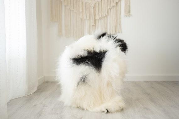 Real Icelandic Sheepskin Rug Scandinavian Home Decor Sofa Sheepskin throw Chair Cover Natural Sheep Skin Rugs Black White fur #Iceland510