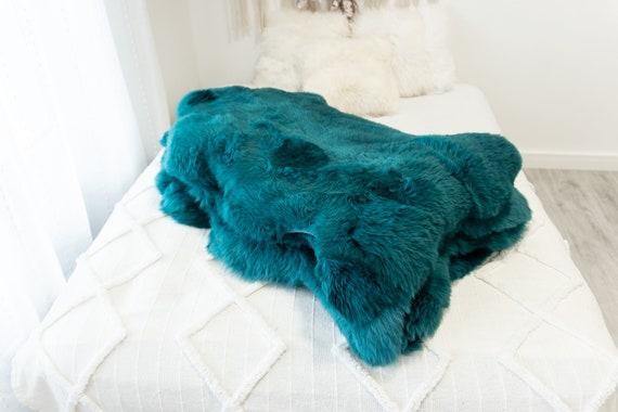 Genuine Natural Teal Green Sheepskin Rug Sheepskin Throw Scandinavian Style | Scandinavian Rug | -  WHOLESALE PACK 10 PIECES