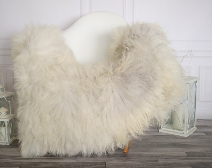 Sheepskin Rug | Real Sheepskin Rug | Shaggy Rug | Sheepskin Throw | Super Large Sheepskin Rug Beige Gray | Home Decor | #HERMAJ79