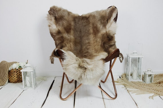 Reindeer Hide | Reindeer Rug | Reindeer Skin | Throw XXL EXTRA LARGE - Scandinavian Style Christmas Decor Brown White Hide #Kre15