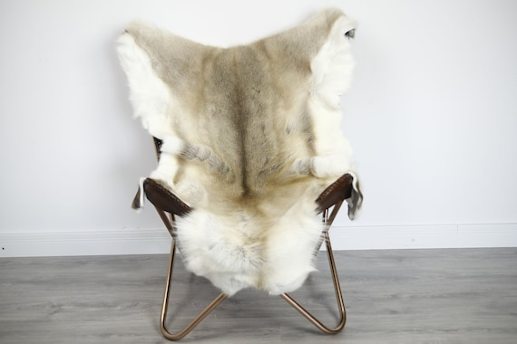 Reindeer Hide | Reindeer Rug | Reindeer Skin | Throw XXL EXTRA LARGE - Scandinavian Style Christmas Decor Brown White Hide #Ire37