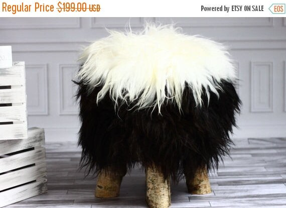 ON SALE Icelandic Sheepskin Stool | Sheepskin pouf | Sheepskin Chair | Wooden stool | Rustic stool | dressing table chair | Black Stool
