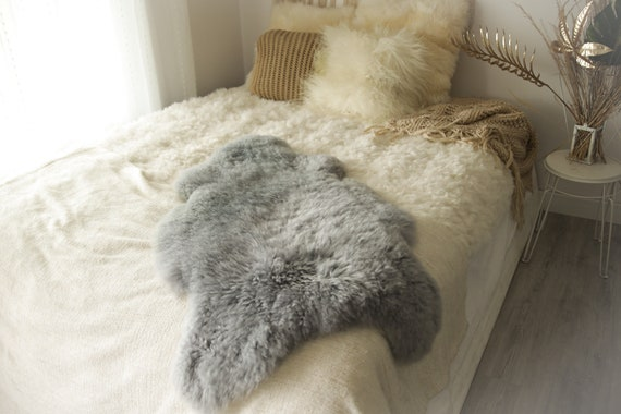 Real Sheepskin Rug Shaggy Rug Chair Cover Sheepskin Throw Sheep Skin Gray Sheepskin Home Decor Rugs #0Margot9