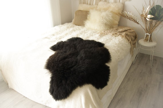 Real Sheepskin Rug Shaggy Rug Chair Cover Sheepskin Throw Sheep Skin Black Brown Sheepskin Home Decor Rugs #0Margot5