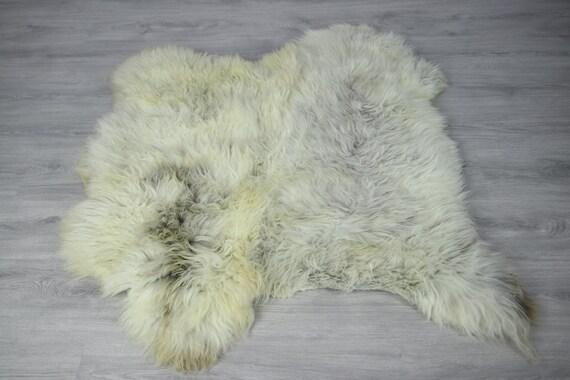 Double Sheepskin Rug | Long rug | Shaggy Rug | Chair Cover | Runner Rug | Carpet | Beige Gray Sheepskin | Sheepskin Rug | LUSZY12