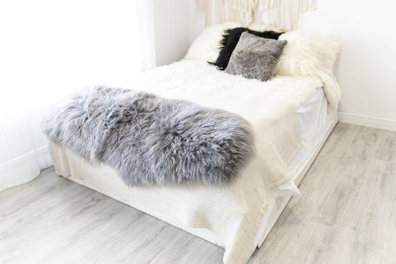 Double Gray Icelandic Sheepskin Rug | Long rug | Shaggy Rug | Chair Cover | Area Rug | Gray Rug | Carpet | Gray Sheep skin | Gray Throw