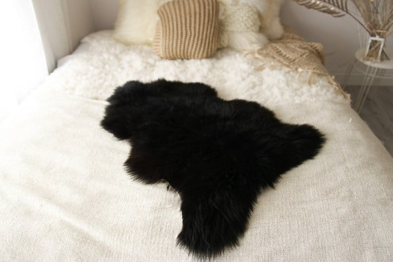 Real, Natural, Genuine black Sheepskin Rug Scandinavian