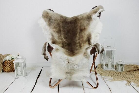 Reindeer Hide | Reindeer Rug | Reindeer Skin | Throw XXL EXTRA LARGE - Scandinavian Style Christmas Decor Brown White Hide #Kre29