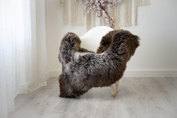 Real Sheepskin Rug Shaggy Rug Chair Cover Scandinavian Home Sheepskin Throw Sheep Skin Gray Brown Sheepskin Home Decor Rugs #herdwik257