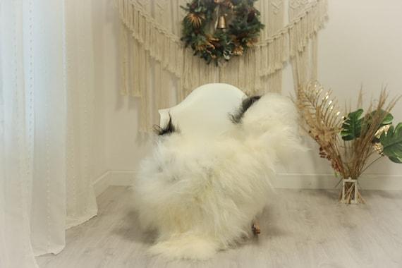 Real Icelandic Sheepskin Rug Scandinavian Decor Sofa Sheepskin throw Chair Cover Natural Sheep Skin Rugs Ivory Black #Iceland89