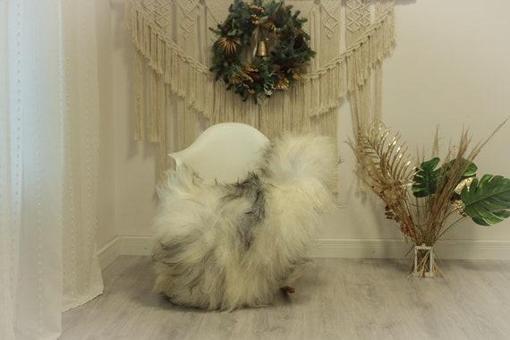 Real Icelandic Sheepskin Rug Scandinavian Decor Sofa Sheepskin throw Chair Cover Natural Sheep Skin Rugs Ivory Gray #Iceland87
