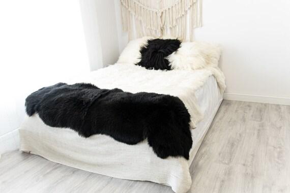Double Black Merino Sheepskin Rug | Long rug | Shaggy Rug | Chair Cover | Area Rug | Black Rug | Carpet | Black Sheepskin Merino Black