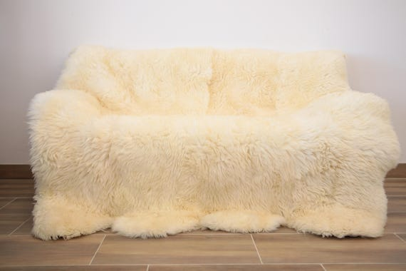 Exclusive  Sheepskin Real Fur Throw | Real Fur Blanket | Ivory  Fur Throw | 180x170cm