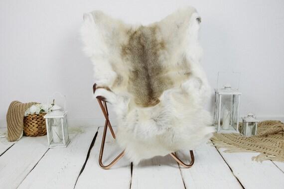 Reindeer Hide   Reindeer Rug   Reindeer Skin   Throw XXL EXTRA LARGE - Scandinavian Style Christmas Decor Brown White Hide #Kre4