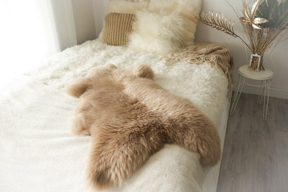 Real Sheepskin Rug Shaggy Rug Chair Cover Sheepskin Throw Sheep Skin Champagne Sheepskin Home Decor Rugs #0Margot15