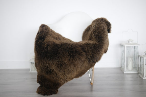 Real Sheepskin Rug Shaggy Rug Chair Cover Sheepskin Throw Sheep Skin Brown Sheepskin Home Decor Rugs #6her4