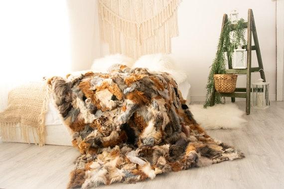 Luxurious Toscana Sheepskin Real Fur Bed Spread Throw Real Fur Blanket Sheepskin throw Sofa Cover Luxury Blanket Comforter Boho FU40