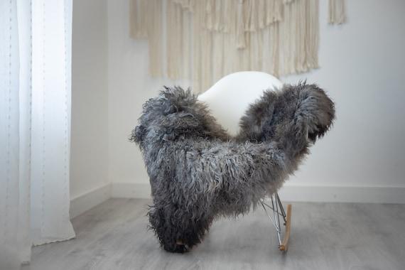 Real Sheepskin Rug Genuine Rare Gotland Sheepskin Rus - Curly Fur Rug Scandinavian Sheep skin - Gray Ivory Sheepskin #G33
