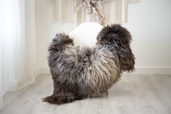 Real Sheepskin Rug Shaggy Rug Chair Cover Scandinavian Home Sheepskin Throw Sheep Skin Gray Brown Sheepskin Home Decor Rugs #herdwik264