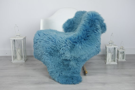 Real Sheepskin Rug Shaggy Rug Chair Cover Sheepskin Throw Sheep Skin Blue Sheepskin Home Decor Rugs #7her10