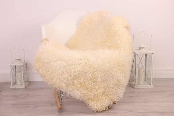 Real Sheepskin Rug Genuine Rare Gotland Sheepskin Rus - Curly Fur Rug Scandinavian Sheepvskin - Beige Sheepskin #4Margot16