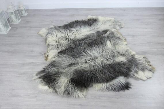 Double XXL Sheepskin Rug | Long rug | Shaggy Rug | Chair Cover | Runner Rug | Carpet | Gray Sheepskin | Sheepskin Rug | Grayszy6